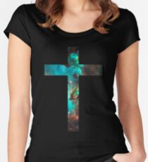 Green Galaxy Cross Women's Fitted Scoop T-Shirt