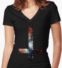 Red Galaxy Inverted Cross Women's Fitted V-Neck T-Shirt
