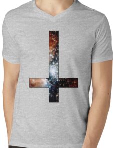 Red Galaxy Inverted Cross Mens V-Neck T-Shirt