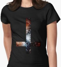 Red Galaxy Inverted Cross Women's Fitted T-Shirt