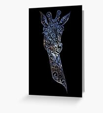 Blue Space Giraffe Greeting Card