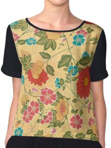 Colorful Flowers Collage Yellow Tones Women's Chiffon Top