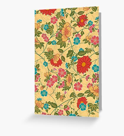 Colorful Flowers Collage Yellow Tones Greeting Card
