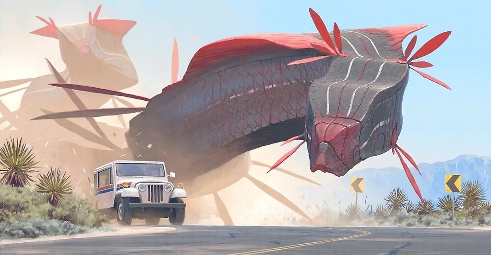 Car And Worms, near Amargosa by Simon Stålenhag