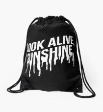 White Drip Text (Black) Drawstring Bag