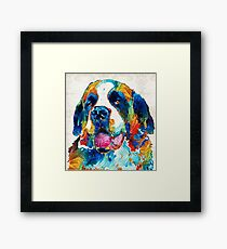 Colorful Saint Bernard Dog by Sharon Cummings Framed Print