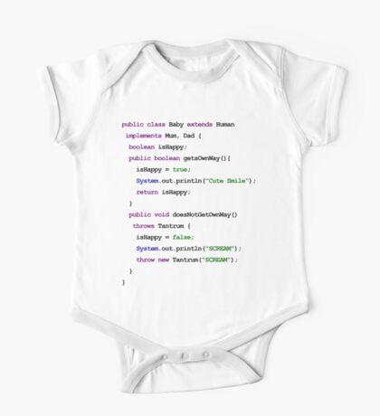 Java Code New Baby - implements Mum, Dad One Piece - Short Sleeve