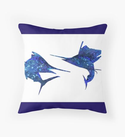 Marlin / Sailfish Mosaic - Dark Throw Pillow