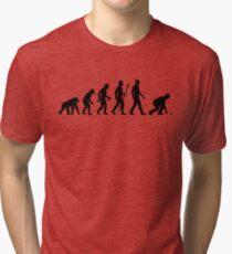 Funny Lawn Bowls Evolution Of Man Tri-blend T-Shirt
