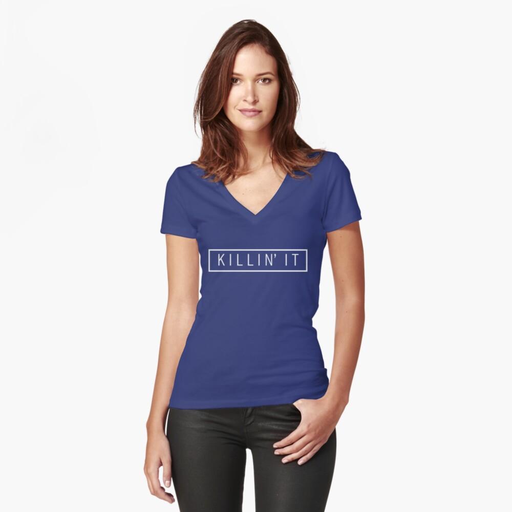 tötet es - Pastellblau Tailliertes T-Shirt mit V-Ausschnitt