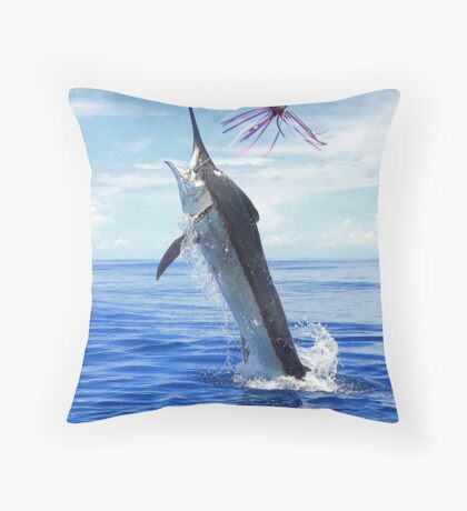 Marlin Canvas or Print - Giant Black Marlin Throw Pillow