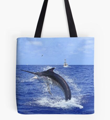 Marlin Canvas or Print - Giant Black Marlin Head Shake Tote Bag
