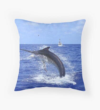 Marlin Canvas or Print - Giant Black Marlin Head Shake Throw Pillow