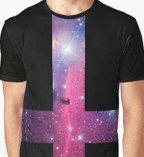 Purple Galaxy Inverted Cross Graphic T-Shirt