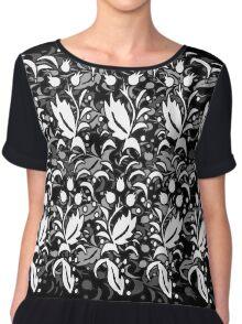 Floral Multi Layer Pattern - Monochrome Chiffon Top