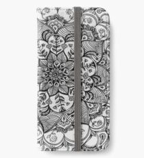 Shades of Grey - mono floral doodle iPhone Wallet/Case/Skin