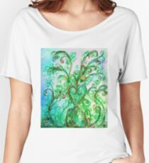 GREEN HEART WITH  WHIMSICAL FLOURISHES Women's Relaxed Fit T-Shirt