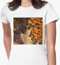 Crisp, Orange Autumn Shadows Womens Fitted T-Shirt