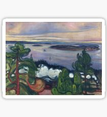 Edvard Munch - Train Smoke. Munch - lake landscape. Sticker