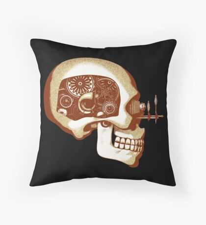 Vintage Steampunk Automaton Skull #1C Throw Pillow