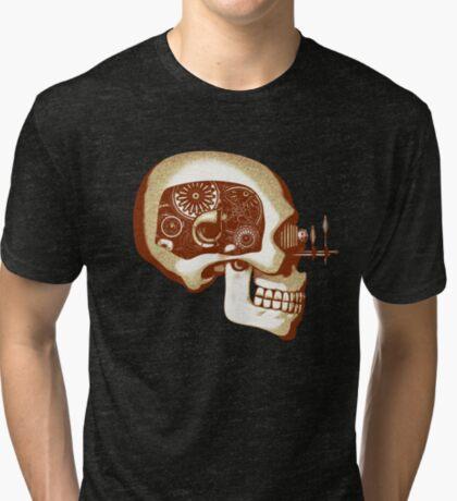 Vintage Steampunk Automaton Skull #1C Tri-blend T-Shirt