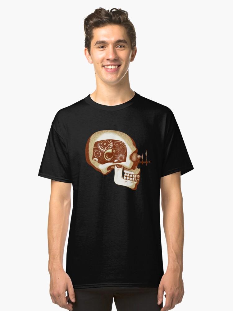 Vintage Steampunk Automaton Skull #1C Classic T-Shirt Front