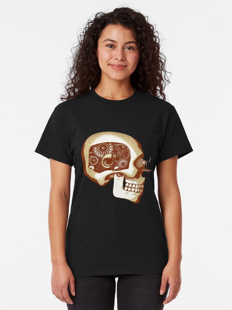 Alternate view of Vintage Steampunk Automaton Skull #1C Classic T-Shirt