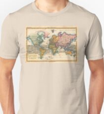 World Map 1700s Antique Vintage Hemisphere Continents Geography T-Shirt