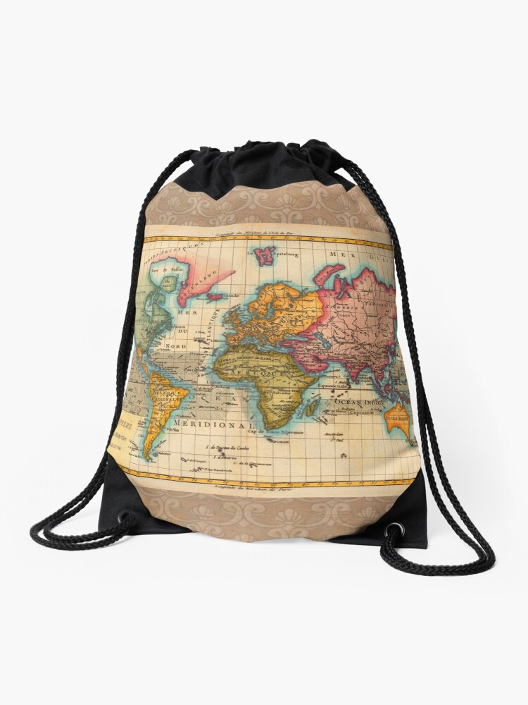 World Map 1700s Antique Vintage Hemisphere Continents Geography |  on wwii map bag, travel bag, german map bag, korean map bag, military map bag, poster bag, russian map bag, italian map bag, vintage compass, world map bag, leather map bag,