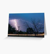 17th Street Car Lights and Lightning Strikes Greeting Card