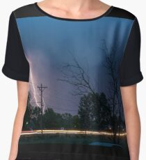 17th Street Neon Lights and Lightning Strikes Women's Chiffon Top