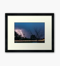 17th Street Neon Lights and Lightning Strikes Framed Print