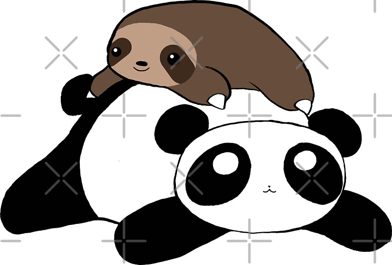 Quot Little Sloth And Panda Quot Stickers By Saradaboru Redbubble