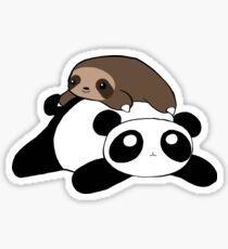 Pegatina Pequeño Perezoso y Panda
