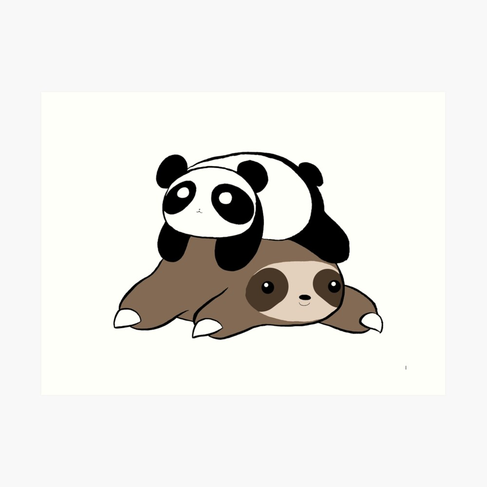 Sloth and Panda Art Print
