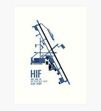 Hill Air Force Base Airfield Diagram (Blue, No Planes) Art Print