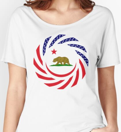 Californian Murican Patriot Flag Series Relaxed Fit T-Shirt