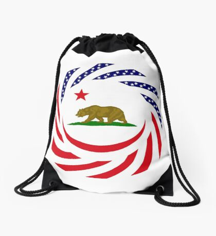 Californian Murican Patriot Flag Series Drawstring Bag
