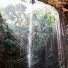 Waterfall Trees Ik Kil Cenote by Dagoth
