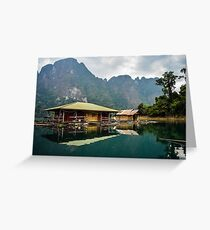 Floating houses on Cheow Lan Lake, Thailand Greeting Card
