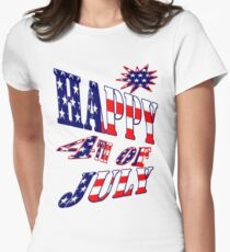 Happy 4th of July-  Art + Products Design  Women's Fitted T-Shirt