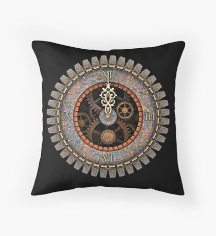 Infernal Steampunk Vintage Clock Face No.2 Throw Pillow