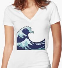 Water Wave Emoji Women's Fitted V-Neck T-Shirt