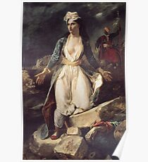 Eugene Delacroix  - Greece Expiring On The Ruins Of Missolonghi.  Delacroix  - woman portrait. Poster