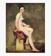 Eugene Delacroix  - Seated Nude, Mademoiselle Rose.  Delacroix  - woman portrait. Photographic Print