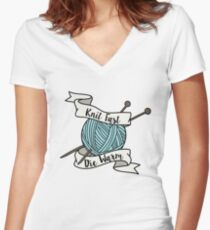 Knit Fast, Die Warm Women's Fitted V-Neck T-Shirt