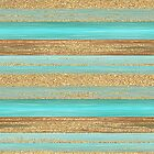 Turquoise Brown Faux Gold Glitter Stripes Pattern by FudgePudge