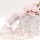 Pink Carnations In Rose Box by Sandra Foster