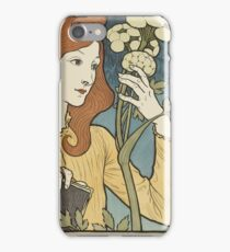 Eugene Samuel Grasset  - Salon Des Cent 1894. Eugene Samuel Grasset  - woman portrait. iPhone Case/Skin