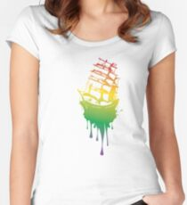 Frigate Ship Colorful Grunge Women's Fitted Scoop T-Shirt